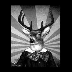 Print 8x10  Deer  Lowbrow Art Antlers Animal Reindeer by chuckhodi