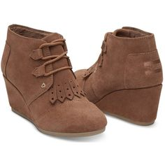 TOMS Women's Desert Wedge Bootie ($60) ❤ liked on Polyvore featuring shoes, boots, ankle booties, ankle boots, wide boots, wide ankle boots, wedge heel booties and wedge heel ankle boots