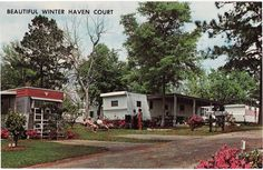 Post Card Winter Haven Court Advertisement Mobile  Home