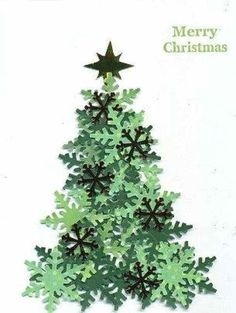 Paper Christmas tree made with snowflake punch and different shades of green paper. – from Cards and Paper Crafts at Splitcoaststampers – Desirees Tree by scootsv – Paper Christmas tree… Xmas Crafts, Christmas Projects, Tree Crafts, Christmas Ideas, Childrens Christmas Card Ideas, Homemade Christmas Crafts, Christmas Tables, Beautiful Christmas Cards, Navidad Diy