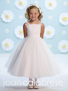 Joan Calabrese for Mon Cheri - 116368 - Sleeveless satin, tulle and lace tea-length full A-line dress, thin shoulder straps with bows, lace overlay bodice, back covered buttons, full gathered semi-circular tulle overlay skirt.  Sizes: 2 – 14  Colors: White, Ivory/Petal