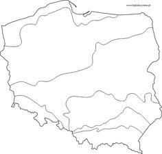 Pasowe ukształtowanie powierzchni Polski mapa konturowa