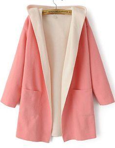 Pink Hooded Long Sleeve Pockets Woolen Coat - abaday.com