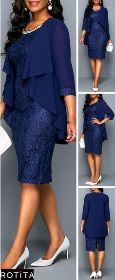 This dress with Two Piece and Navy Lace design can show your sexy perfectly,you can wear it to your party or have a date with your friends,which is very suitable,this dress can make you the most attractive woman at the night.Get one you prefer. Night Outfits, Dress Outfits, Fashion Outfits, Outfit Night, Dress Night, African Fashion Dresses, African Dress, Elegant Dresses, Sexy Dresses