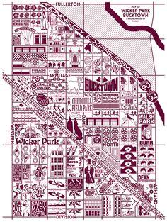 Joe Mills - Map of Wicker Park Bucktown, Chicago Chicago Map, Chicago Neighborhoods, Albany Park, Jefferson Park, Irving Park, Humboldt Park, Village Map, Global Map, Italy Map