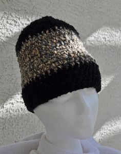 Shades of Beige and Gray Yarn Hat Accented with by TheFancyFrog, $25.00