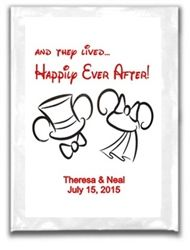 Personalized Wedding Hot Chocolate Cocoa Packet Label. A unique party favor for winter wonderland themed weddings. Mickey and Minnie Mouse.  Bride and Groom. Disney Theme Wedding.