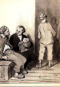 lithograph from a portfolio of drawings by Honore Daumier, LAW AND JUSTICE, published c. 1950, lawyer talking to prisoner in jail