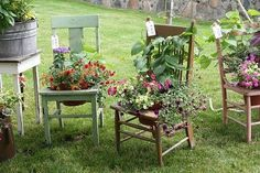 Love these. Inexpensive to do if you can find the chairs at a yard sale.