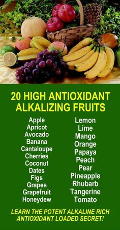 20 High Antioxidant Alkalizing Fruits. Learn about alkaline rich Kangen Water; the hydrogen rich, antioxidant loaded, ionized water that neutralizes free radicals that cause oxidative stress which can lead to a variety of health issues including disease such as cancer. Change your water, change your life. LEARN MORE #Healthy #Antioxidants #Alkaline #Fruits #Foods