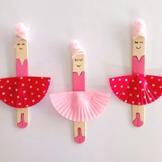 CRAFT STICK BALLERINAS || miss5 loves her ballet classes and is really missing them over the summer holidays. She made these ballerinas from craft sticks and cupcake liners today. The wool knots are their hair buns!!