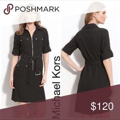 MICHAEL KORS | Utilities Shirt Dress Cargo Black Tailored to perfection, this fitted MICHAEL Michael Kors shirt dress features a figure-cinching waist belt, rolled sleeves and cargo pockets for amped-up utilitarian style. Polyester/rayon/spandex Dry clean Imported Fits true to size, order your normal size Zip-front closure with collar, two snap pockets on chest, long rolled sleeves with button tab detail Adjustable waist belt, two cargo pockets at hip MICHAEL Michael Kors Dresses