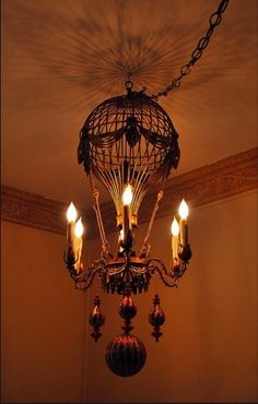 what's not to love about a steampunk balloon birdcage chandelier?