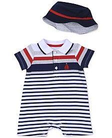 Little Me Baby Boys' 2-Piece Stripe Romper & Hat Set
