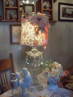 hand made pink rose lamp shade boudoir lamp by TheHumbleCottage, $115.00