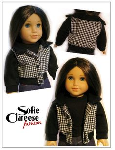 Sofie Clareese Fashion Sofie's Hunter Jacket Doll Clothes Pattern 18 inch American Girl Dolls | Pixie Faire