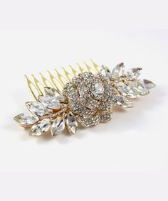 Nalini  Crystal Rose Gold Wedding Hair Comb
