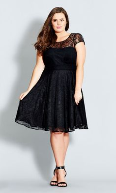Plus Size Plus Size Black Lace Audrey Fit & Flare Dress in black at City Chic | citychiconline.com