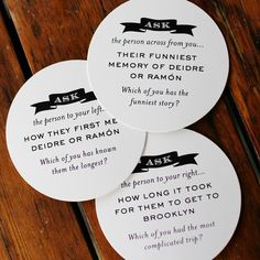 Icebreaker Coasters -- how fun are these? What a GREAT way to get to know other guests!