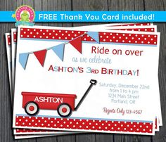 Red Wagon Invitation / Red Wagon Birthday / by ForeverYourPrints