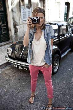 renkli bayan kot ve keten pantolon modelleri