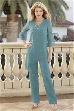 Chiffon Mother Of The Bride Pant Suits Two Pieces Plus Size 3 4 Long Sleeves