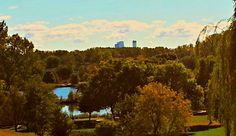 Basset Creek Park Crystal Minnesota, Minneapolis Skyline on Horizzon.