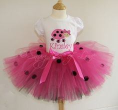 Personalized Birthday Baby/Toddler Shirt with Appliqued Number or Initial, AND Hot Pink Lady Bug Tutu, Custom Made