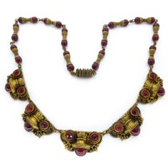 Vintage Art Deco Czech Ornate Gold Panel Red Glass Bead Necklace - Neiger Brothers