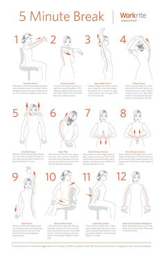 The 5 Minutes Exercises that you can't afford not to do. Ergonomic Exercises To Keep You Healthy & Fresh At Work:  Here at Workrite Ergonomics we believe workplace #health is a top priority and #ergonomics are at the core of our business philosophy.  Exercising at #work is a great way to stay healthy and an awesome way to break up your day, even if it's only for 5min. We've created a must have 12 step exercise routine guaranteed to make you feel better: