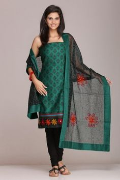 #Green and #black #unstitched #cotton #suit with #super-net #dupatta on www.indiainmybag.com/wool-work-unstitched-suits.html