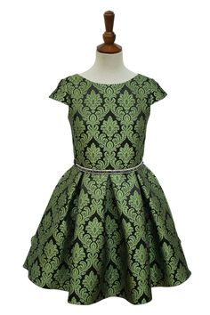 9cc4e9761d99 Green and Black Damask Party Dress | David Charles Childrens Wear Frocks  For Girls, Little