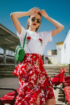 NA-KD asymmetric floral print skirt, rose patch t-shirt, gucci heart sneakers, prada green bag, andreea birsan, couturezilla, cute spring outfit ideas 2018, cherry blossom skirt, midi skirt with double frills, red midi skirt with double frill and floral print, sakura print midi skirt, feminine skirt, how to temper a feminine look, rose patch white t-shirt from nakd, the popular rose boobs t-shirt, how to mix floral prints, gucci ace heart embroidered white sneakers, red midi skirt, red and…