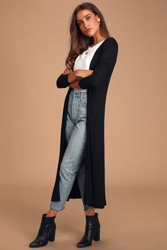 Every movement you make in the Lulus Basics Graceful Ways Black Long Cardigan Sweater will be filled with beauty! Ribbed knit shapes this lightweight cardigan with a long, button-up bodice and front patch pockets. Black Cardigan Outfit, Cardigan Outfits, Sweater Cardigan, Longline Cardigan, Beige Cardigan, Yellow Sweater, Open Cardigan, Ribbed Sweater, Grey Sweater