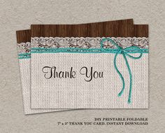 DIY Printable #Rustic #Wedding Thank You Card With Turquoise Twine by iDesignStationery, $4.95