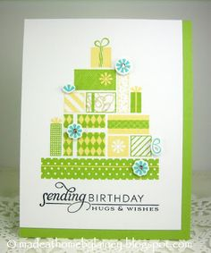 """STAMPS:  PTI Gifts Of the Season, Stylish Sentiments: Birthday PAPER:  PTI White Stampers Select, Green Parakeet INK:  PTI Green Parakeet, Lemon Tart, Hawaiian Shores; Versafine Onyx Black DIES:  PTI Gifts of the Season OTHER:  Gems; Clear Star Jelly ROLL; Foam Tape Size:  4.25"""" x 5.5"""""""