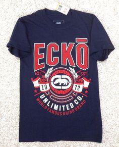 New$20 Mens(Sm) ECKO UNLTD T-SHIRT Navy-Blue/Red/White Rhino Unlimited EKEE9009N #ECKO #GraphicTee