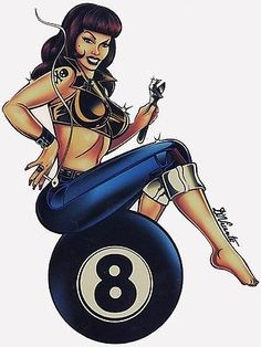Hotrod Hottie Sitting on an 8 ball! PIN UP GIRL Art by Vincente