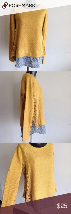 Women's Mustard yellow and dots Comme Toi blouse So cute! Beautiful crochet detail on the mustard yellow sweater. Blue polka dot button up attached at bottom. Round neck. Comfort fit. In great condition!! NEW WITH TAGS!!😻🔥☕️👑✨ (WT215) Comme Toi Tops