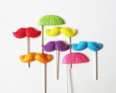 """Stache Spectrum"" Chocolate Lollipops - favours"