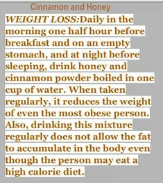 Raw honey and cinnamon for weight loss - Easy Weight Loss, Healthy Weight Loss, How To Lose Weight Fast, Losing Weight, Reduce Weight, Get Healthy, Healthy Tips, Healthy Foods, Healthy Habits