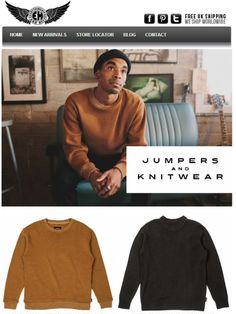 #Musthave for men this season. Shop knitted jumpers, cardigans and more. Keep warm in style with these high quality jumpers by Dickies, Brixton and more.    #jumper #sweater #mensjumpers #giftsformen #winterclothing #luxury #designerclothing #brixton #dickies