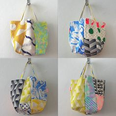 Patchwork bags modernised in bright colours and patterns. Crochet Shell Stitch, Tote Bags Handmade, Linen Bag, Patchwork Bags, Purse Patterns, Fabric Bags, Bag Accessories, Purses And Bags, Sewing Crafts