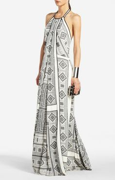 Arlenis Gown. black and white   scarf print. Draped detail at front. Open back