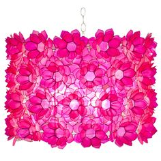 Rosette Pink Capiz Shell Floral Chandelier