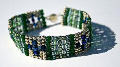 Bead Work Seed Bead and Crystal Bracelet by SleepingCatsJewelry, $35.00