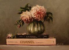 Chanel and Roses still life painting by Carolina Elizabeth http://carolinaelizabeth-art.blogspot.com/