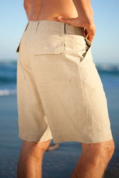for the best man Maui Shorts - Men's Linen Short, Button Closure, Zip-Fly, Drawstring - Island Importer Mens Beach Wedding Attire, Wedding Outfits For Women, Summer Outfits Men, Beach Attire, Mens Linen Shorts, Designer Suits For Men, Linen Suit, Cruise Wear, Swagg