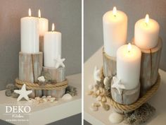 DIY: Centerpiece für maritime Tischdekos (Deko-Kitchen) With this DIY project you can get a little beach and sea feeling on the table, matching the holiday season. The deco object in maritime look, you can easily from commercial Palis Seashell Crafts, Beach Crafts, Diy Centerpieces, Decorations, Beach House Decor, Beach Themes, Coastal Decor, Home Deco, Candles