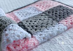 Gray and Pink Baby Blanket Granny Square Baby by puddintoes